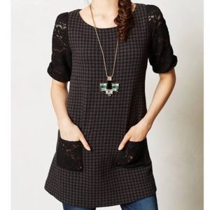 Anthro Postmark lace sleeve houndstooth dress XS